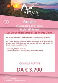 Brasile-in Crociera per gli Sposi-QUOTE A PARTIRE DA-3.700 € VIAGGI DI NOZZE offerte agenzia di viaggi Bari AQVATRAVEL it