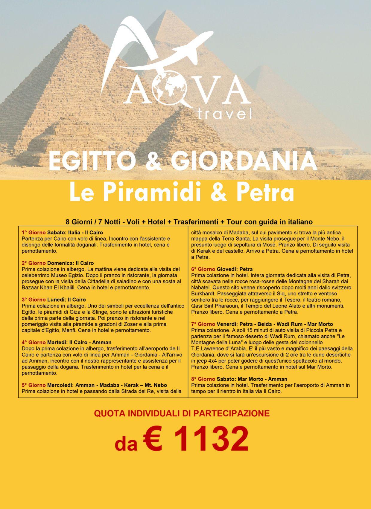 EGITTO & GIORDANIA: Le Piramidi & Petra
