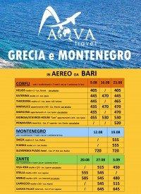 GRECIA e MONTENEGRO in AEREO DA BARI
