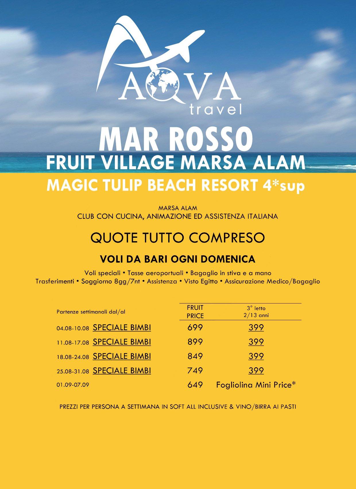 MAR ROSSO FRUIT VILLAGE MARSA ALAM MAGIC TULIP BEACH RESORT 4* sup MARSA ALAM CLUB CON CUCINA, ANIMAZIONE ED ASSISTENZA ITALIANA QUOTE TUTTO COMPRESO VOLI DA BARI OGNI DOMENICA