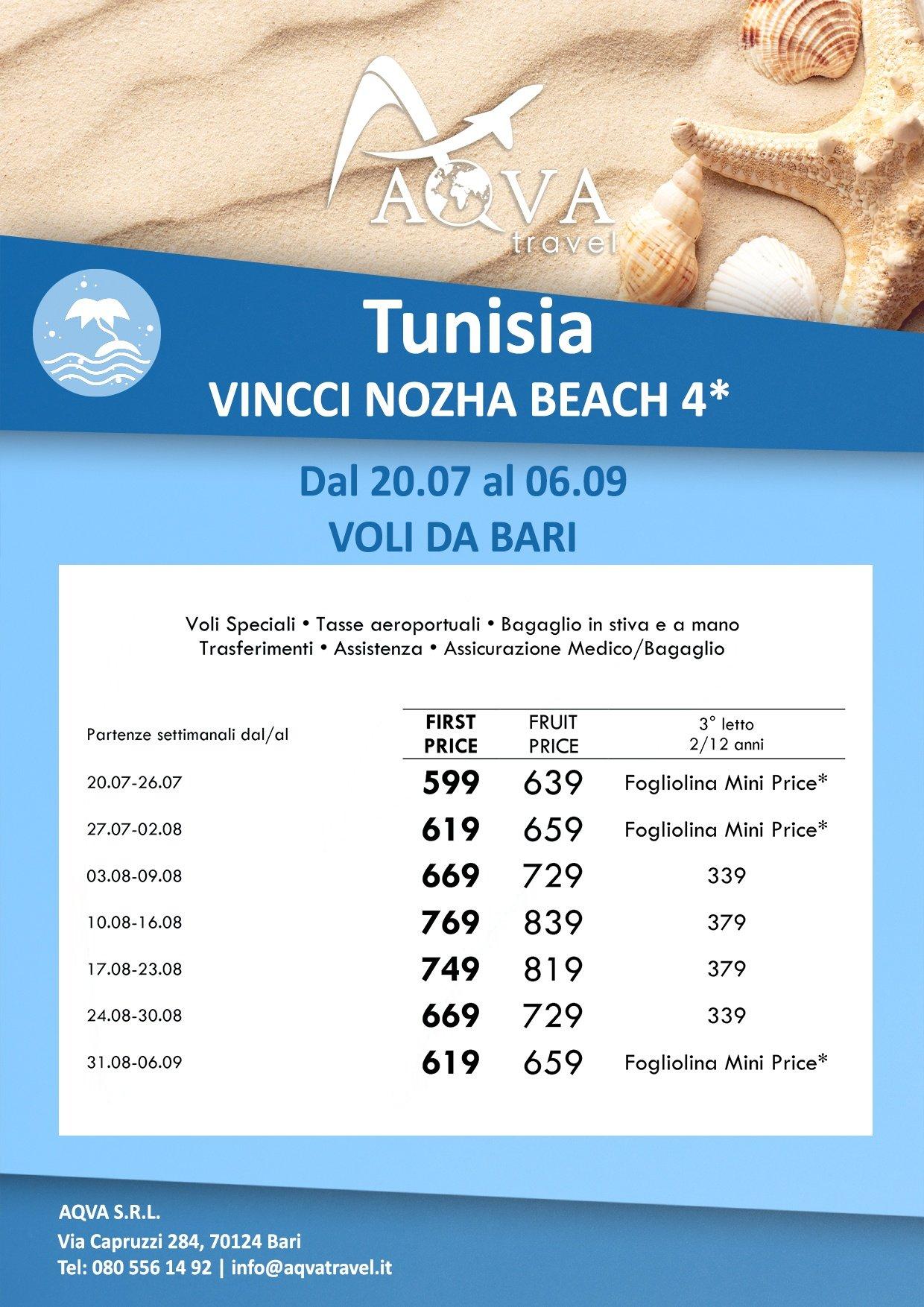 Tunisia-FRUIT VILLAGE HAMMAMET -VINCCI NOZHA BEACH 4 Mare offerte agenzia di viaggi Bari AQVATRAVEL it