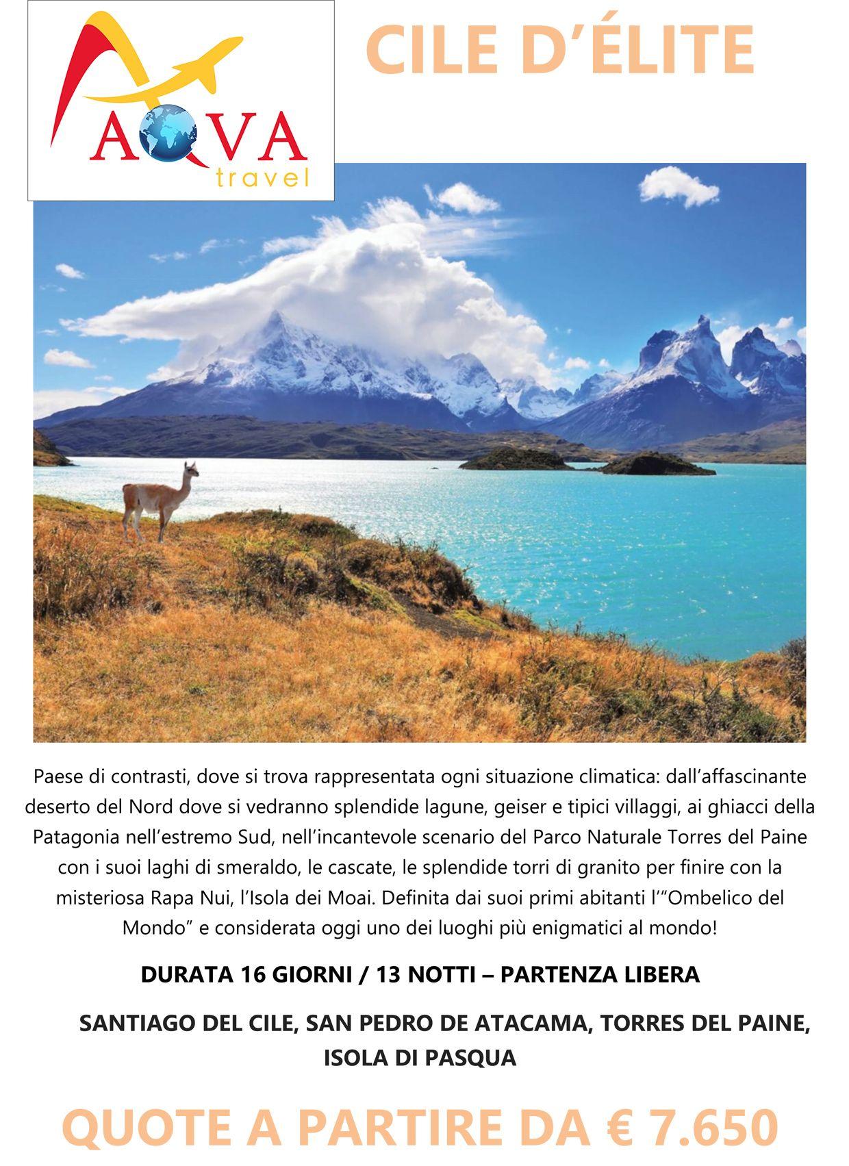 Tour SANTIAGO DEL CILE, SAN PEDRO DE ATACAMA, TORRES DEL PAINE, ISOLA DI PASQUA